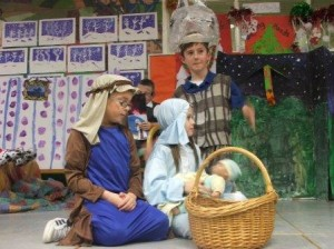 Mary and Joseph with basket